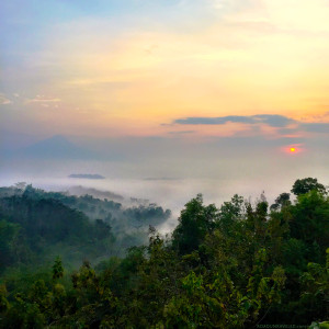 Sunrise over Borobudur from Punthuk Setumbu Hill