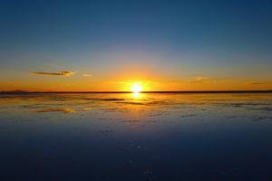 Sunset over Salar de Uyuni