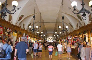 Shops near St. Mary's Basilica in Krakow, Poland