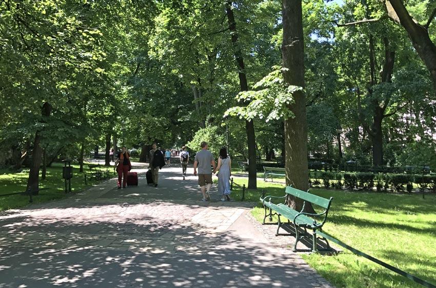 Planty Park in Krakow, Poland