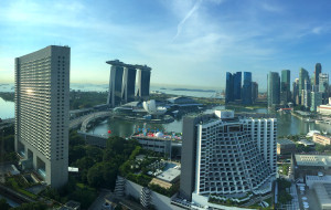 View from our room in the Pan Pacific Hotel. The Marina Bay Sands is in the center.