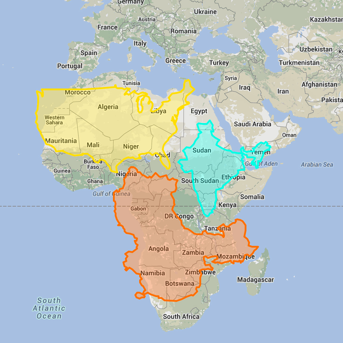 The real size of countries on a world map road unraveled this map illustrates just how big africa is the usa india and china can all fit within the continent gumiabroncs Images