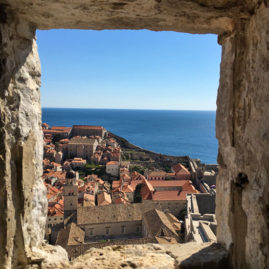 Window view of Old Town Dubrovnik, Croatia