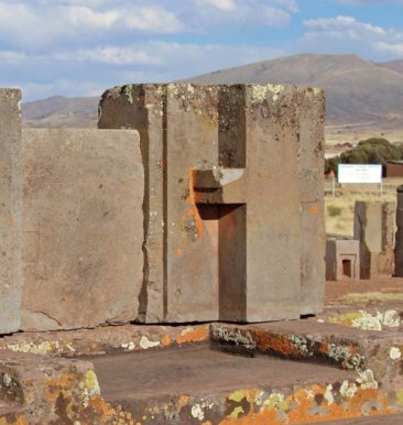 Stone carvings at Puma Punku Tiwanaku in Bolivia