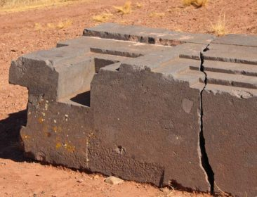 Stone carvings at Puma Punku in Bolivia
