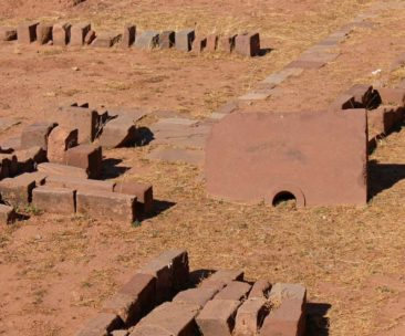 Stonework and carvings at Tiwanaku in Boliva