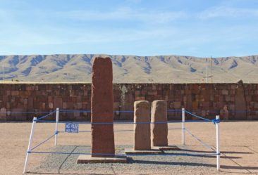 Stonework and statues at Tiwanaku near Puma Punku in Bolivia