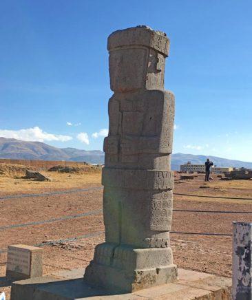 Viracocha Statue at Tiwanaku Puma Punku in Bolivia