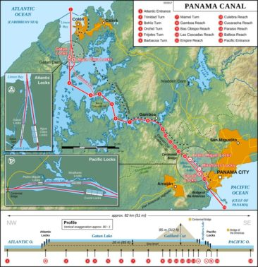 Map of the Panama Canal