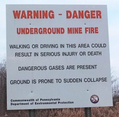 Warning sign in Centralia (Photo via Wikipedia)