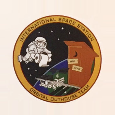 The logo inside the Space Station toilet
