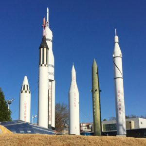A collection of historic rockets at the Marshall Spaceflight Center in Huntsville, Alabama