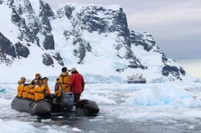 Zodiac cruising in Antarctica