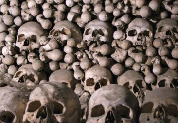 Skulls and bones in the Sedlec Ossuary