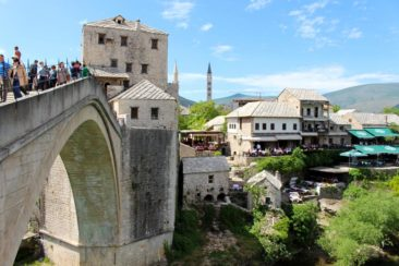 The view from the Stari Most bridge in Mostar