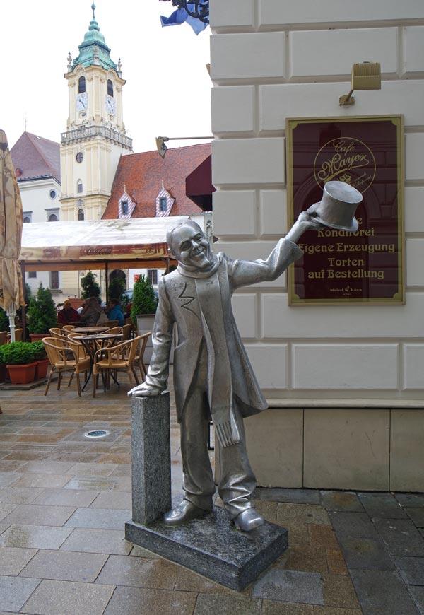 Schone Naci Statue in Old Town Bratislava's Main Square