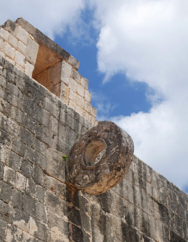 The hoop of the ball court at Chichen Itza