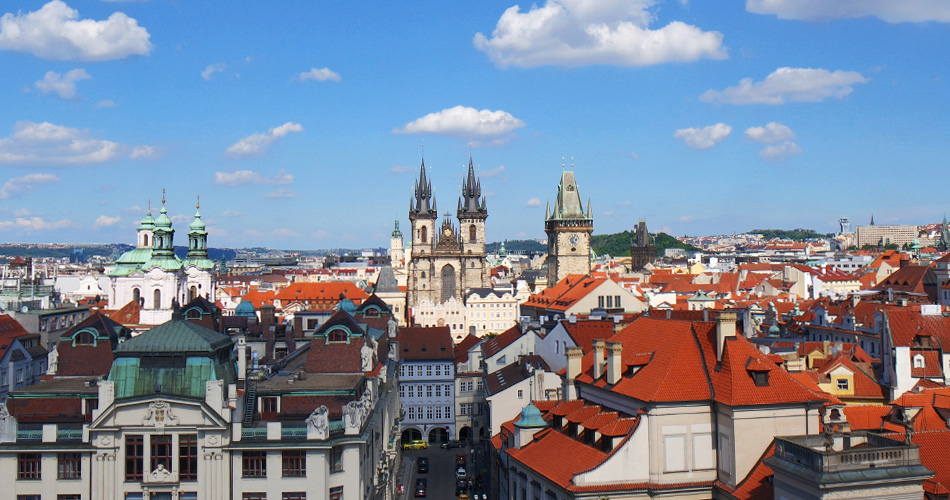 View from top of the Klementinum in Prague