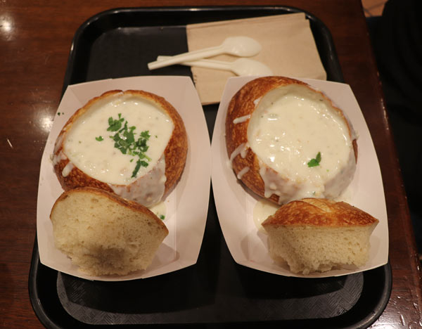 Sourdough bread bowl at Boudin Bakery
