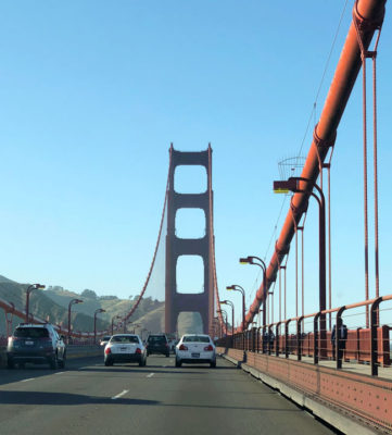Driving over the Golden Gate Bridge