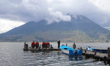 Puerto Lago with the Imbabura Volcano in the background