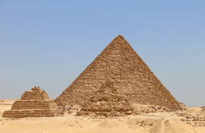 Two of the smaller Queen's Pyramids in Giza