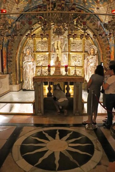 The Altar of the Crucifixion in the Church of the Holy Sepulchre