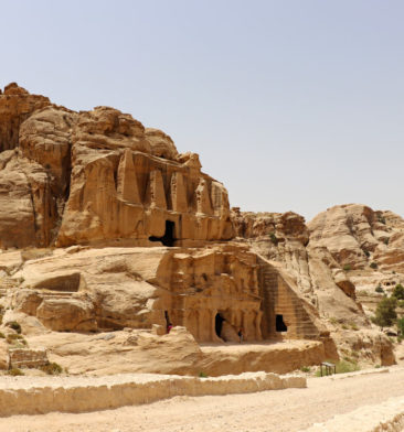 Stone buildings in Petra