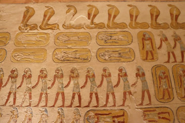 Hieroglyphics inside Ramses IV's tomb in the Valley of the Kings