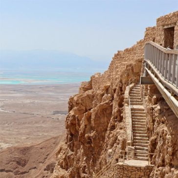Stairway to Masada with the Dead Sea in the distance