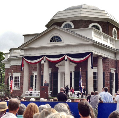 Dave Matthews speaking at Monticello's naturalization ceremony