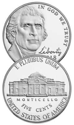 Jefferson and Monticello on the US Nickel