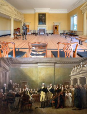 Washington's statue and the painting it was based on - photos via Wikipedia