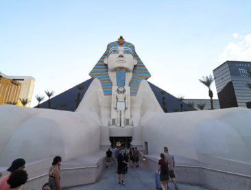 Enter the Luxor Hotel & Casino through the Sphinx