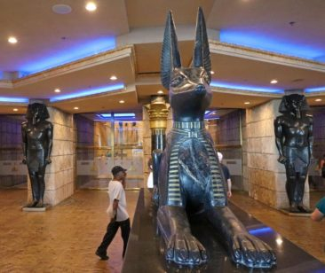 Anubis and the Pharaohs at the entrance to the Luxor Hotel & Casino in Las Vegas