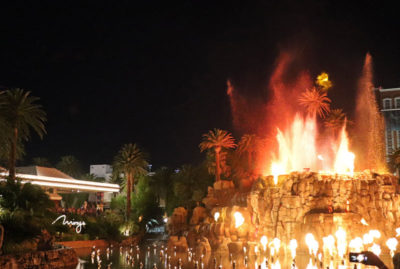The volcano outside the Mirage in Las Vegas