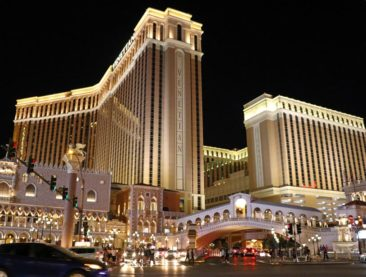 The Venetian in Las Vegas with a replica of the Rialto Bridge and St Mark's Campanile