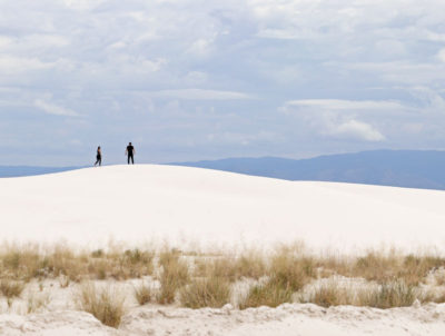 Walking on the dunes at White Sands National Monument
