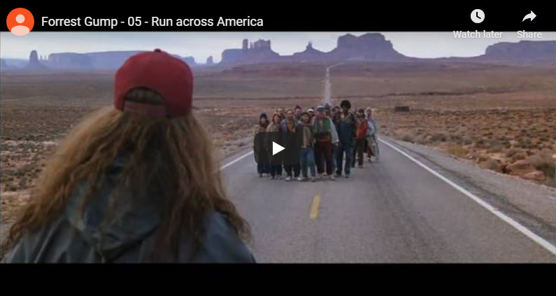 Forrest Gump scene running through Monument Valley