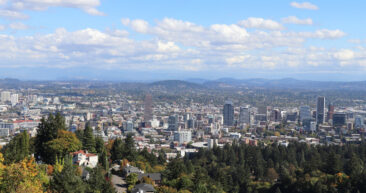 Portland skyline panorama from the Pittock Mansion