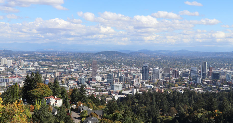 Portland skyline view from the Pittock Mansion