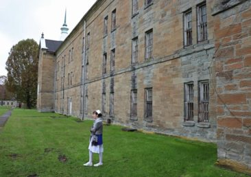 Our guide outside the Trans-Allegheny Lunatic Asylum