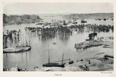 Photo of the flooded temple of Philae from 1906. Source: Wikipedia