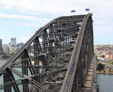 Sydney Harbour Bridge Climbers in Blue