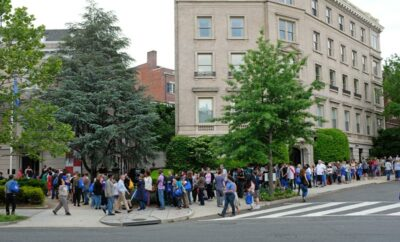 Lines outside the Embassy of Croatia in Washington, DC