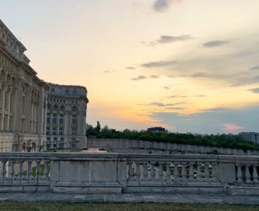 Sunset over the Palace of the Parliament in Bucharest