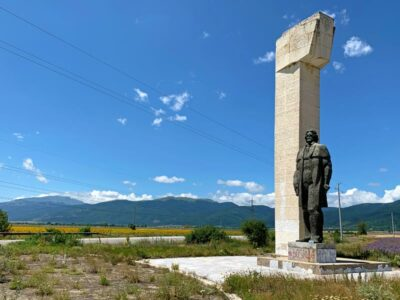 Monument to Dimitar Blagoev at the base of Buzludzha