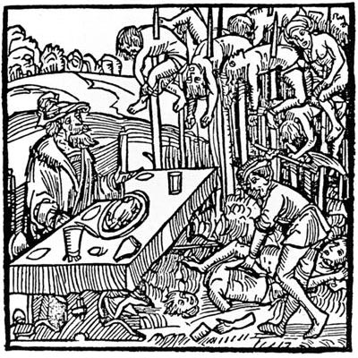 Woodcut from 1499 showing Vlad dining among the impaled victims (Image via Wikipedia)