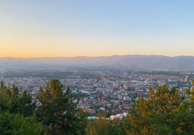 Twilight view of Skopje from Mount Vodno