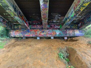 Underneath the bridge near Kurt Cobain Memorial Park